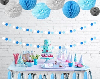 Baby Blue White Grey Baby Shower Party Decorations First Birthday Tissue Paper Pom Pom Honeycomb Tassel Garland Polka Dot Garland for Boys