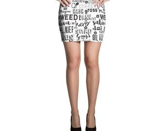 Cannabis word collage Nug Pot Vape Herb Dab funny Marijuana Colorado Statement Trend Unique Mini Skirt