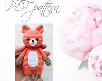 Crochet Fox, PDF pattern, DIY toys,  Amigurumi Fox