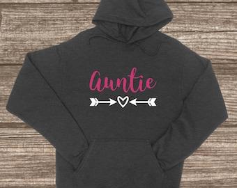 Auntie Hooded Pullover Sweatshirt - Custom Jackets - Auntie Christmas Gift - Aunt Stuff - Cute Women's Sweaters