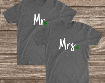 Mr. & Mrs. Couples St. Patrick's Day Unisex T-Shirts - St. Patricks Day Shirts - Women - Men - Matching Set - Mr. and Mrs. - Husband - Wife