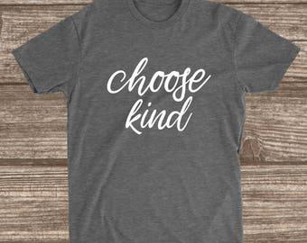 Choose Kind Deep Heather Grey T-shirt - Be Kind Shirts - Kindness T-shirt
