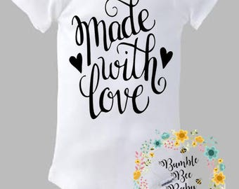 Made With Love, Onesie  - Super Cute - Choice of  Letter Colors