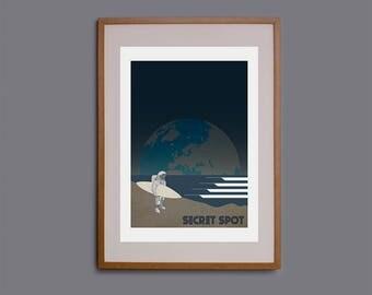 Surf art, waves, wall art, surf decor, surf illustration, moon, surfer, giclee print, space, astronaut, space travel