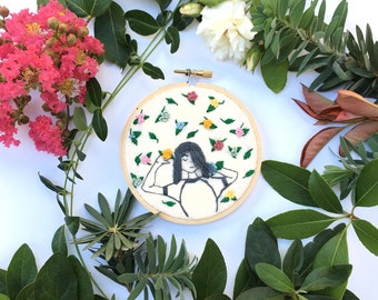 Flower Rain,Hand Embroidery Hoop Art, Stitched Art, Home Decor, Embroidery hoop, Fibre Art, Wall Hanging,Needlework,Sewing, Multicolor, Girl