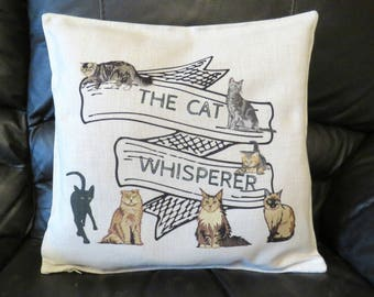 Cat Whisperer Cushion Cover, Cats Decorative Cushion, Cat Whisperer Throw Pillow Cover, Cat Lovers Gift.