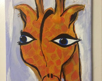 Giraffe Canvas Painting Original Artwork