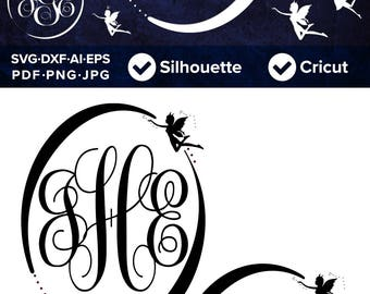 Fairy SVG Fairies Fantasy Magic Circles Monogram Frame Set 02 - SVG Cut File, DXF, Png, Eps, Pdf, Ai, Cricut, Silhouette Studio
