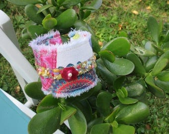 Fabric Cuff Bracelet in the colors of summer