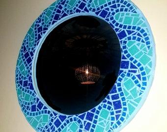Mosaic Art - Custom Mosaic Framed Mirror - Blue Wave Design