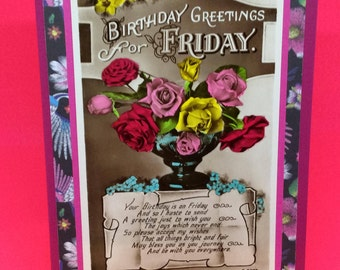 Vintage Friday  Birthday Card - Upcycled vintage birthday card for Friday.