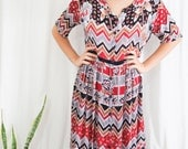 vintage tribal geometric printed cotton midi dress