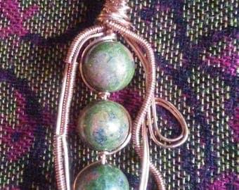 Copper Wire wrapped necklace unakite pendant