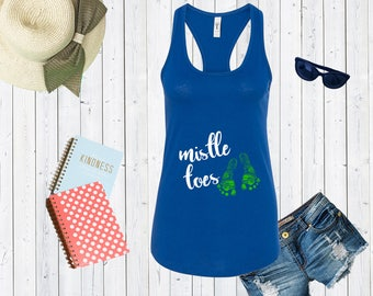 Mistletoe Toe Maternity Tank top. Pregnancy Announcement Shirt. Mommy To Be Gift. Christmas tank top.