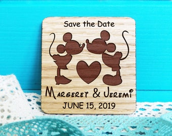 Save-the-Date Magnets-Wooden Engraved Save the Date-Disney Save the Date-Wedding Magnet-Mickey and Minnie Save the Date-Mickey Mouse Wedding