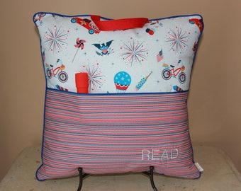 Patriotic Travel Reading Pillow with Flashlight//Camp Pillow//Embroidered Pillow//Kids Gifts//Book Pillow//Book Pocket//Pillow with Pocket