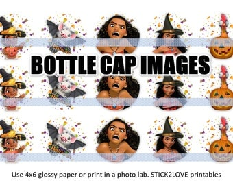 "Moana Halloween printables  4x6 - 1"" circles, bottle cap images, stickers"