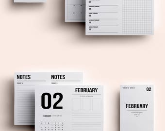 POCKET TN Insert | February | Printable daily to do | Daily Planner | Grid Planner | Weekly Planner | Printable Travelers Notebook Inserts