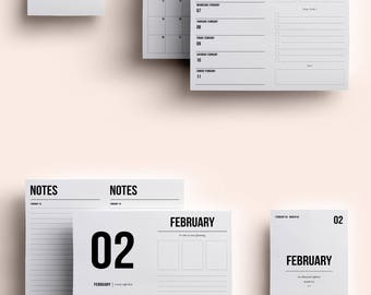 A6 TN Insert | A6 TN Printable | A6 TN Printable Insert | A6 Daily Insert - February 2018