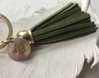 Gold Tone & Brass Tag Chicken Love Keychain with Suede Tassel
