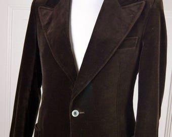 German Vintage Velvet Blazer, Brown Velvet Jacket, 1970s Chocolate Brown Wide Collar Blazer, Cotton Velvet Sports Coat: Size 38 US/UK