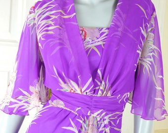 European Vintage Maxi Dress, Violet Floral Print Long Dress, Purple Formal Hostess Dress, 1970s Boho Maxi: Size 14 US, Size 18 UK