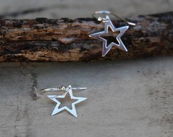 Star Earrings, Silver Star Earrings, Drop Earrings , Bridesmaid Gift, Sterling Silver Earrings, Silver Jewelry, Silver Earrings