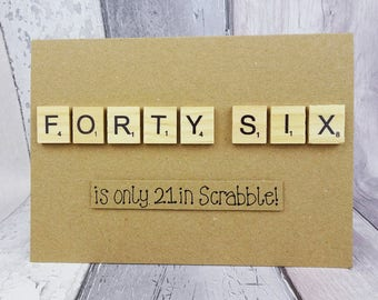 Custom age Scrabble tile birthday card, Age personalised, Handmade Happy Birthday card, Wooden alphabet tiles, Funny birthday card, 46, 32