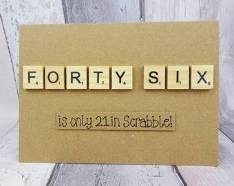 Custom age Scrabble tile birthday card, Age personalised, Handmade Happy Birthday card, Wooden alphabet tiles, Funny birthday card, 46, 32