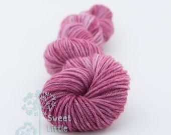 Mini skein - Beautiful hand dyed eggplant purple hank of sock weight superwash merino wool