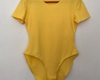 Vintage bodysuit/ yellow bodysuit / 90s bodysuit / 90s clothing / 90s top women / 90s top / yellow top / stretchy top
