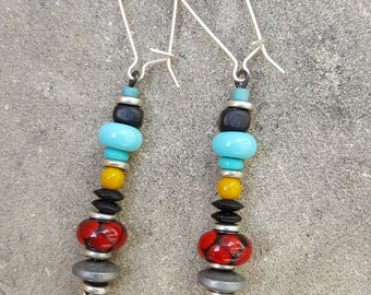 Colorful Glass Bead Dangle Earrings