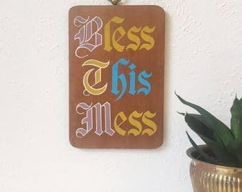 Vintage BLESS THIS MESS Wood Wall Sign / Cutting Board + Retro Decor + Vintage 70s Kitchen