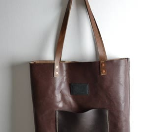 Large Leather Tote Bag / Hand stitched / Hand made in London / Zabo leather goods