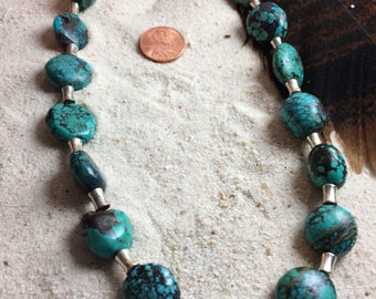 Chunky turquoise necklace, turquoise necklace, turquoise nugget necklace, turquoise and silver necklace, boho necklace, southwest style