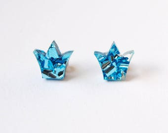 Little Crown Stud Earrings in Icy Blue Glitter Acrylic