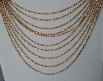 Avon Vintage Gold Beaded Necklace Ten Necklaces Drape Flowing Elegantly 1990s