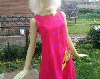 1990s Vintage Fuschia Pink Shift Dress Small