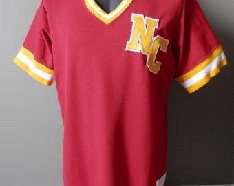 Vintage Sewn V-neck Baseball Jersey Shirt NC #17