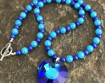 Light and Dark Blue Quartz Necklace with a Stunning Bermuda Blue Swarovski Pendant