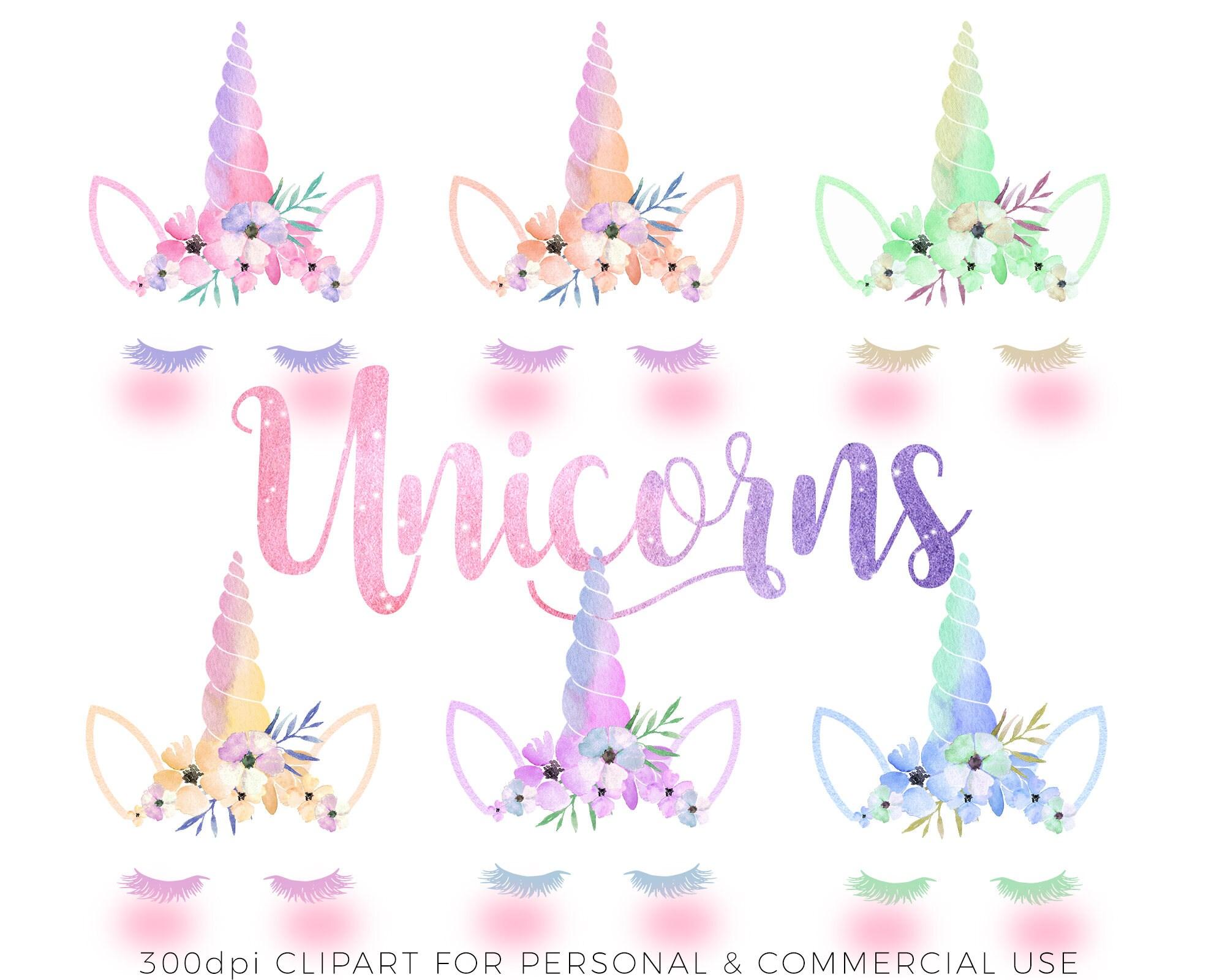 6 X Cute Watercolor Magical Unicorn Face Clip Art Images