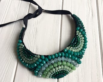 Mint statement necklace, turquoise bib necklace, natural stone necklace, gift for women, natural stone jewelry, blue bib statement jewelry