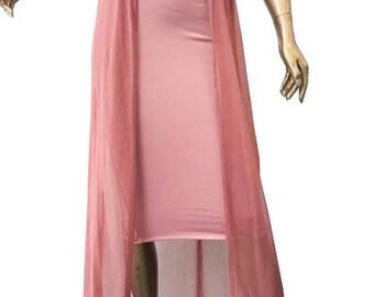 Sheer Mesh Knit Midi Skirt/Custom Women Sheer Mesh Overlay Open Front Knit Midi Skirt