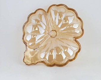 Marigold Carnival Glass/Jeannette Glass Divided Candy Dish