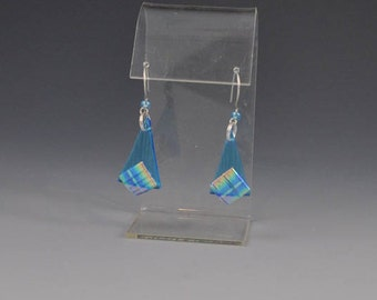 Dichroic Fused Glass Earrings in Shimmering Blue to Yellow with Sterling Silver Argentium Ear Wire