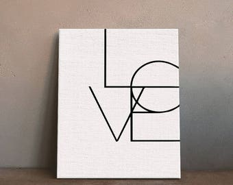 LOVE Black White Minimalist Art Canvas Spray Painting Poster DIY Printings Wall Picture Decoration Home Kids Room Decor No Frame