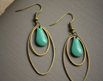 bronze 2 color oval turquoise earrings