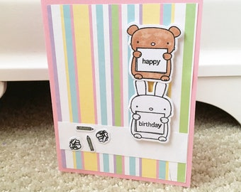 Birthday Card//Mama Elephant//Hamster//Bunny