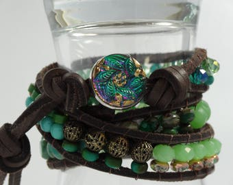 Adjustable triple leather wrap bracelet in greens and copper, gorgeous Czech button closure