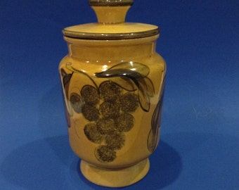 Vintage Mustard Yellow Glazed Ceramic Kitchen Canister with Lid Hand Painted Grape Cluster Themed Patterns Kitchen Decor